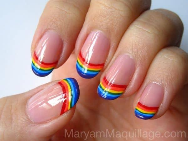 Rainbow Tip Solar Nail Design