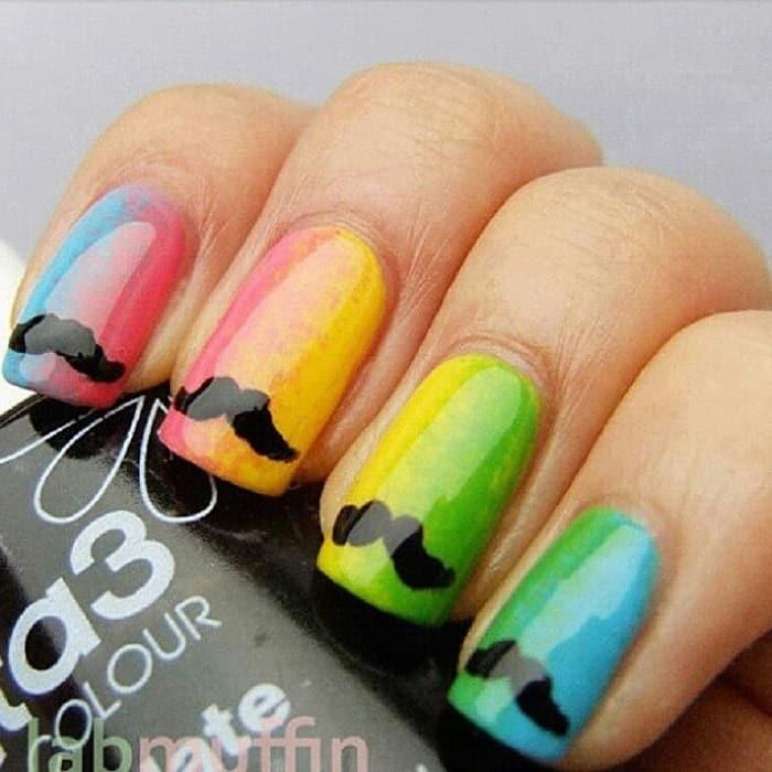 mustache rainbow nails