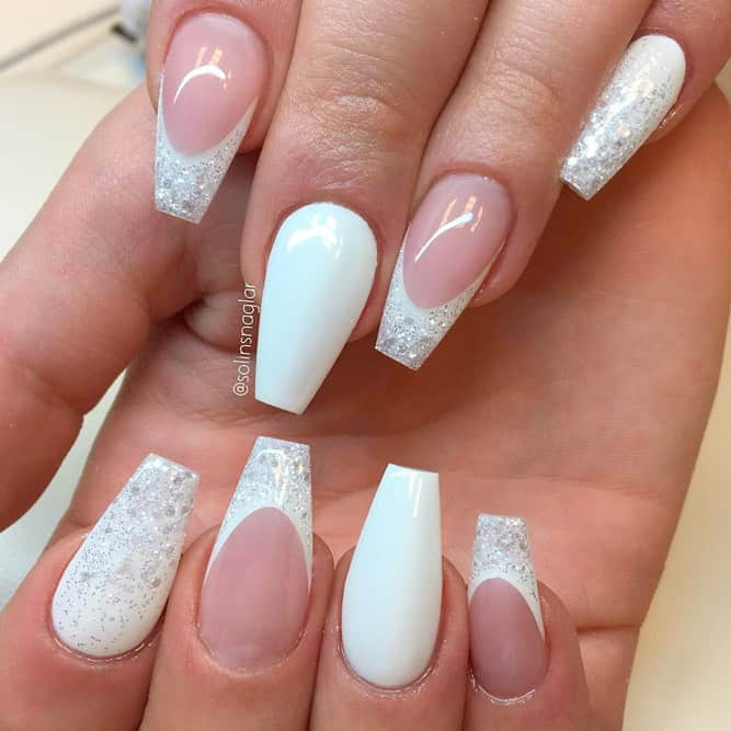 French Style White Coffin Nails