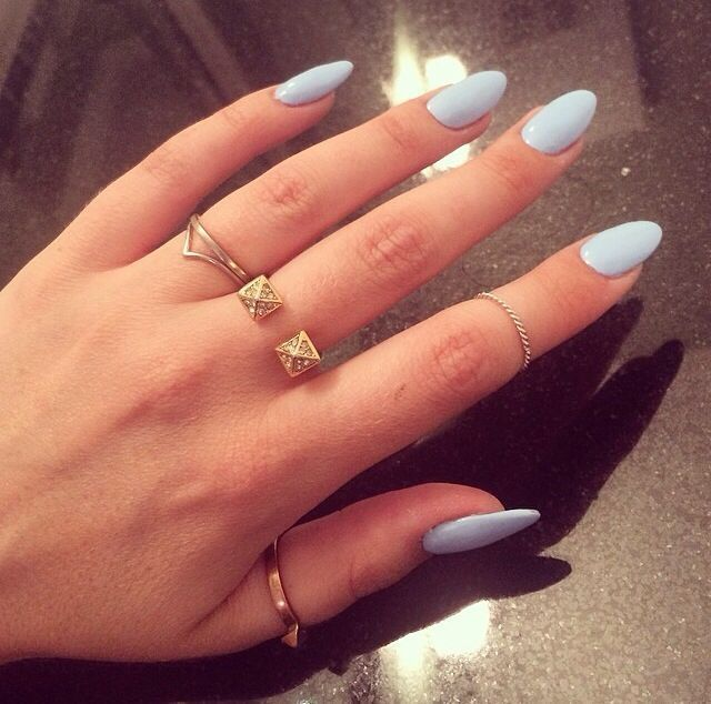 light blue oval shaped acrylic nails