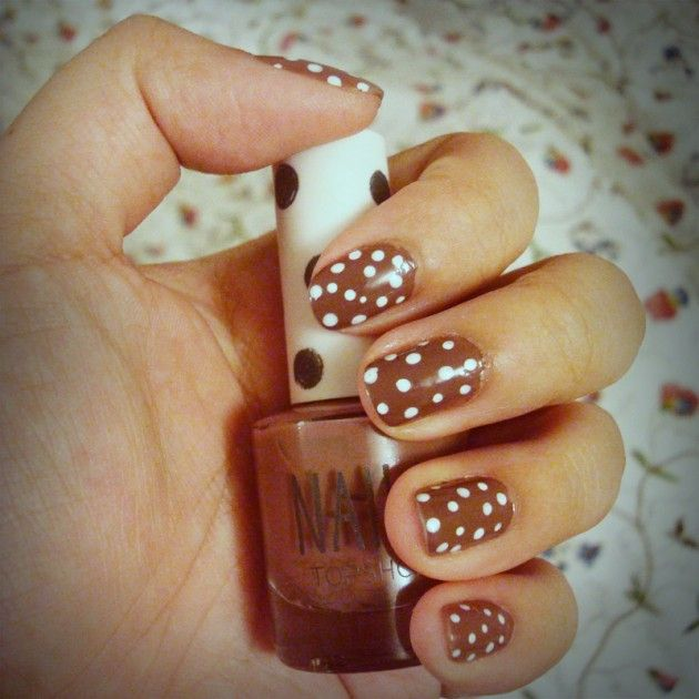 Polka Dots on Brown nail