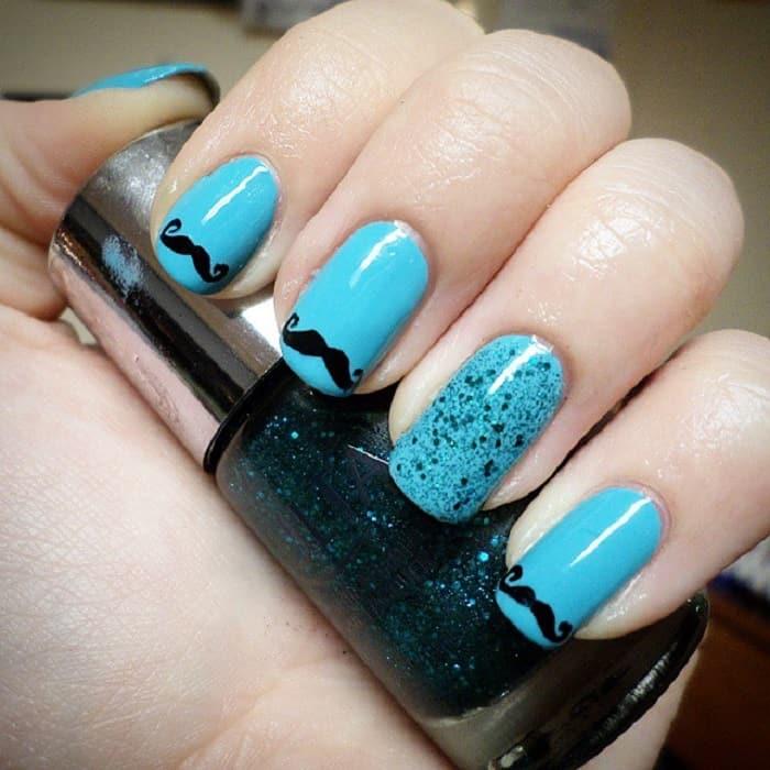 mustache blue nails