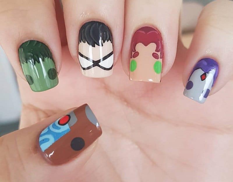 teen titan nail design