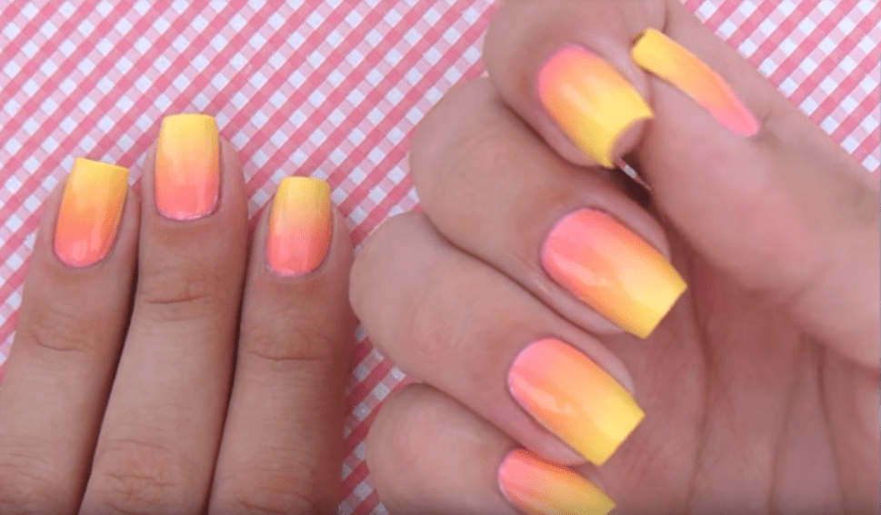peach and yellow ombre nail