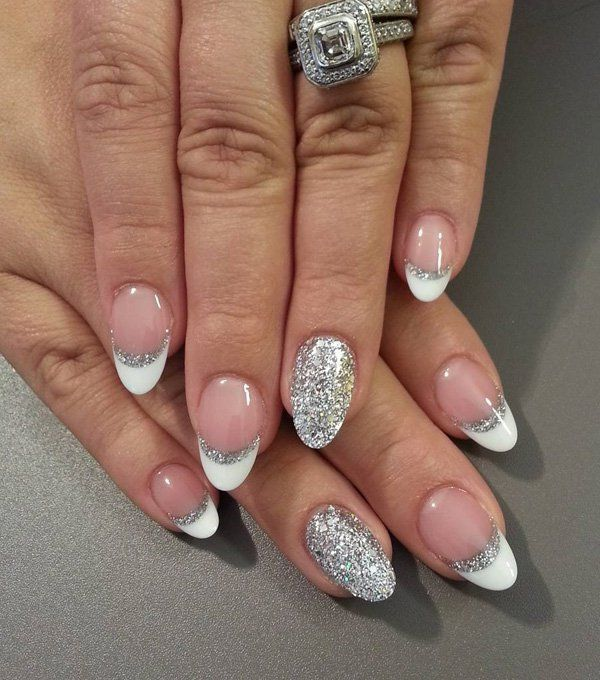 French tips and silver glitter look stunning as oval shaped acrylic nail  designs. - 70 Oval Shaped Acrylic Nail Designs For Nail Lovers