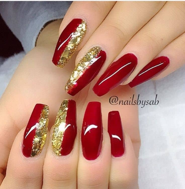 red and gold acrylic nail - 15 Royal Red And Gold Nail Designs To Stun The Audience