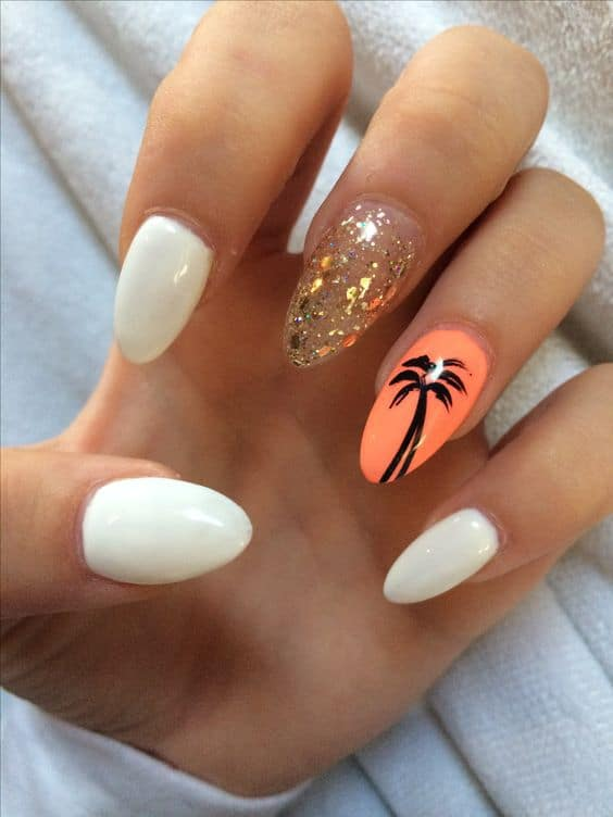Acrylic vacation nail design