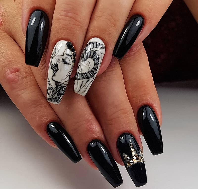 crystal ghost nail design