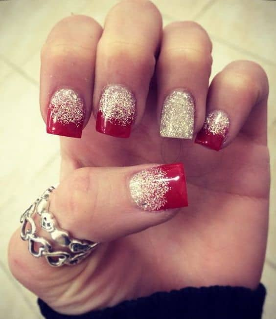 red glitter ombre nail
