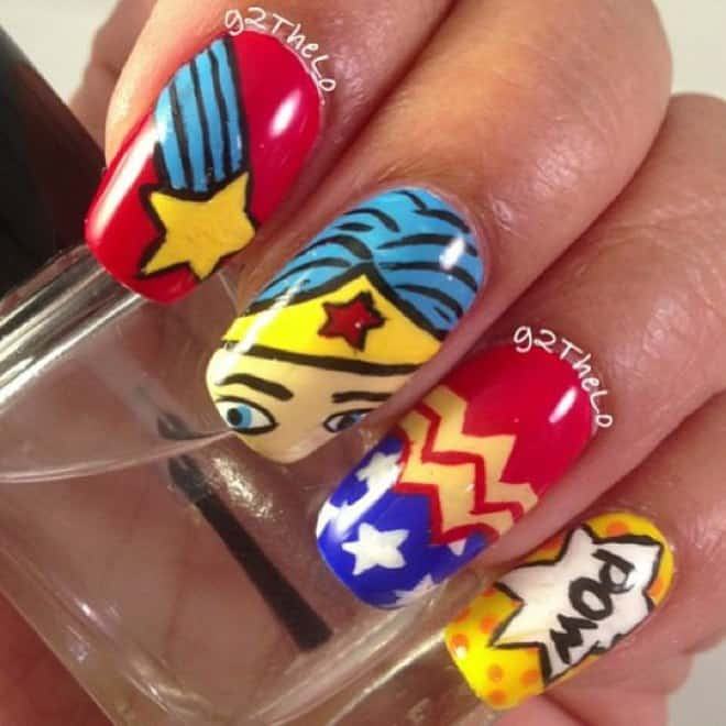 wonder women cartoon nail art