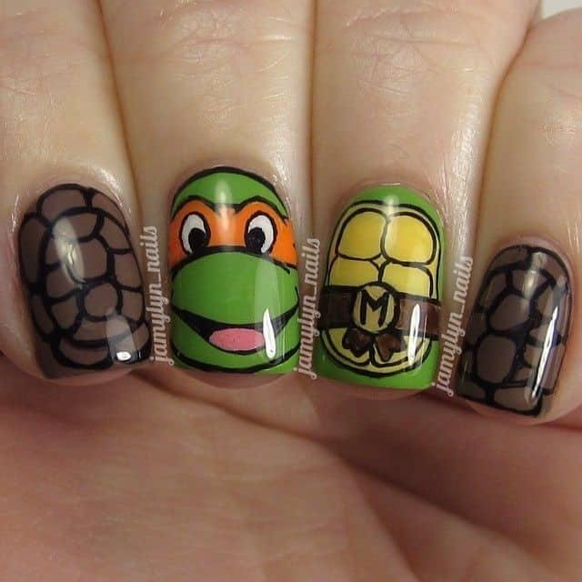 Michelangelo ninja turtle nail