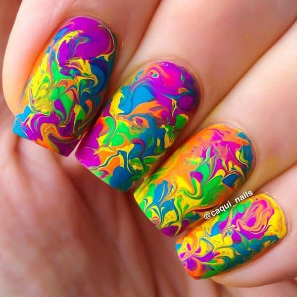 Colorful Water Marble swirl Nail Art