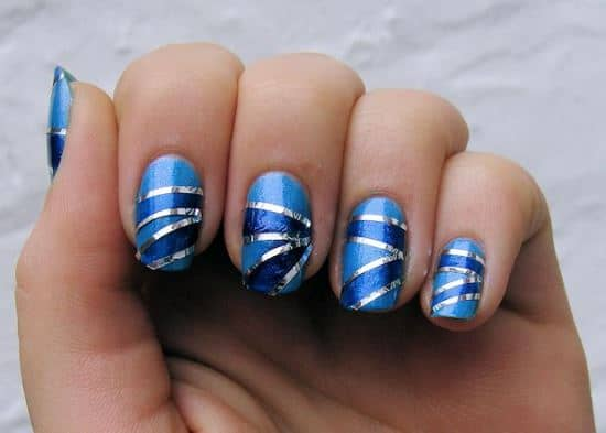 blue striping tape nail