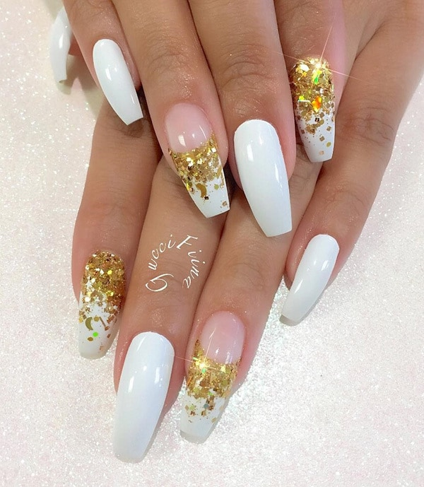 White Coffin Nails with Gold