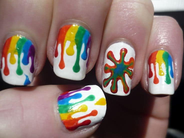 Dripping Color rainbow nail design