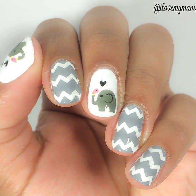 20 divine chevron nails know how to slay one naildesigncode i cant resist myself from sharing this design this cute tiny elephant looks so cute that none can avoid it you can accentuate your silver chevron nails solutioingenieria Gallery