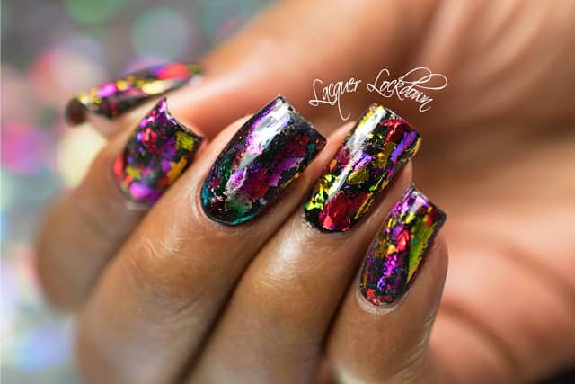 holographic nails with foil