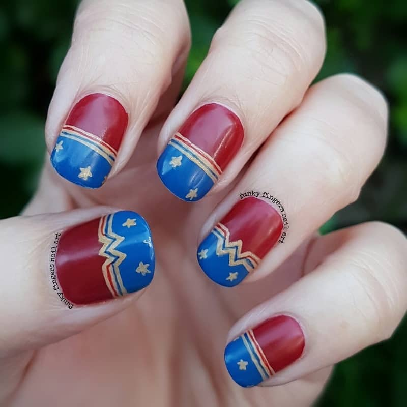 wonder women logo nail art