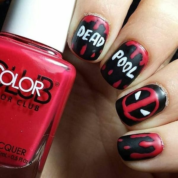 You can depict the image of Deadpool, which is a famous Marvel character,  to paint your nails in Marvel & superhero nail art. - 20 Marvel & Superhero Nail Art To Indulge In Fantasy
