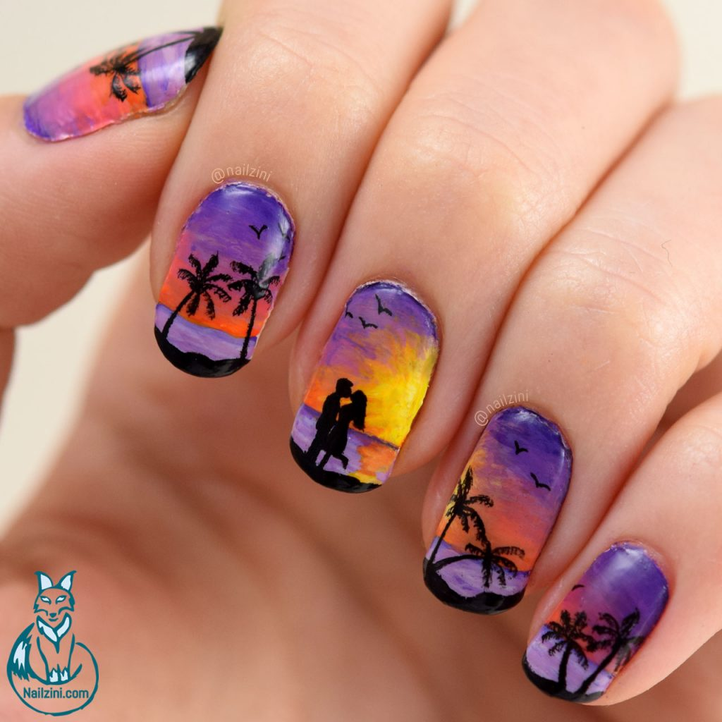 romantic beach nail design - 15 Phenomenal Palm Tree Nail Designs For This Summer
