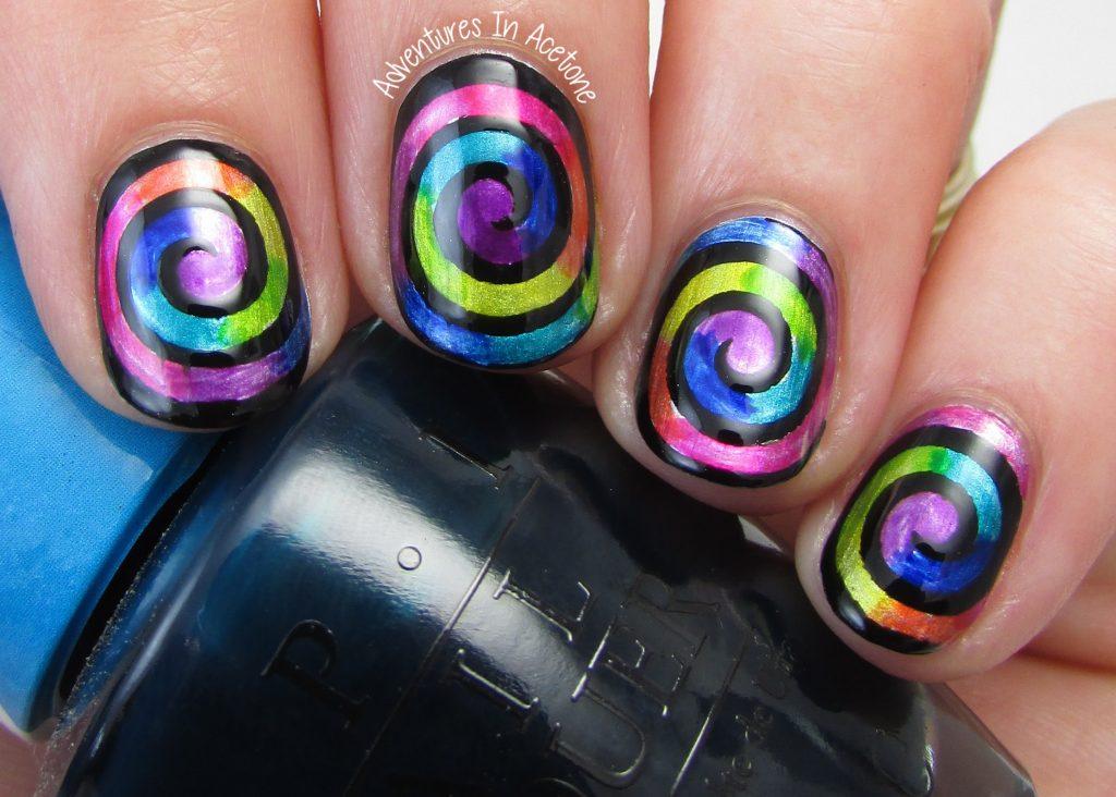 rainbow swirl nail art