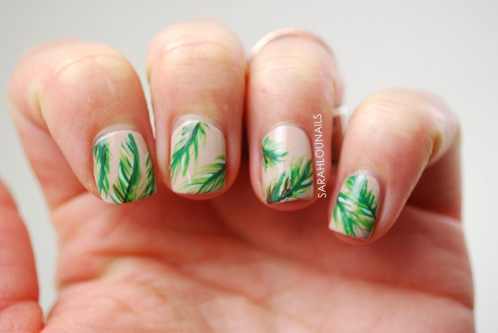 how to draw a palm tree on nails