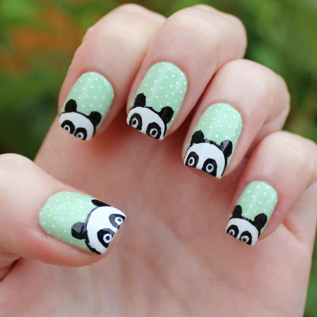 Panda nail designs 21 cutest ideas for 2018 naildesigncode pandas are shy animals you can illustrate their shyness in panda nail designs draw some peeping pandas to get these nails done on your nails prinsesfo Image collections