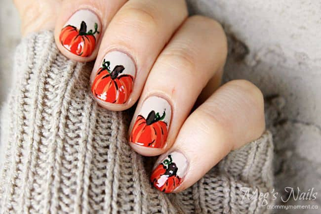 Autumn nail designs are a great concern for the fashion geeks. You can  celebrate the autumn season with this beautiful autumn nail art. - 15 Prominent Pumpkin Nail Art For Halloween – NailDesignCode