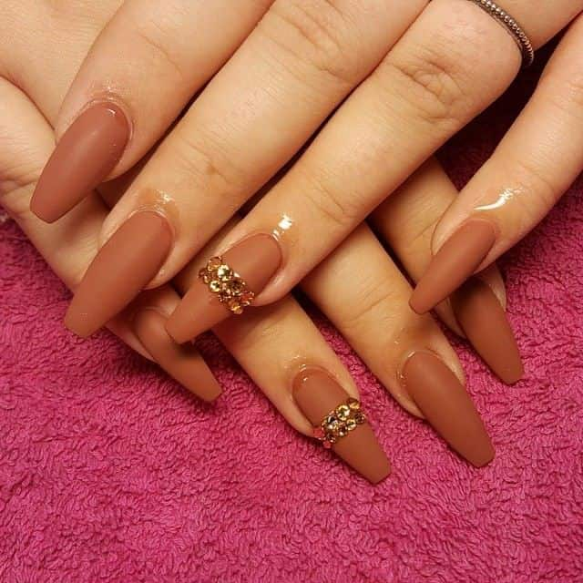 Brown Ballerina Nails