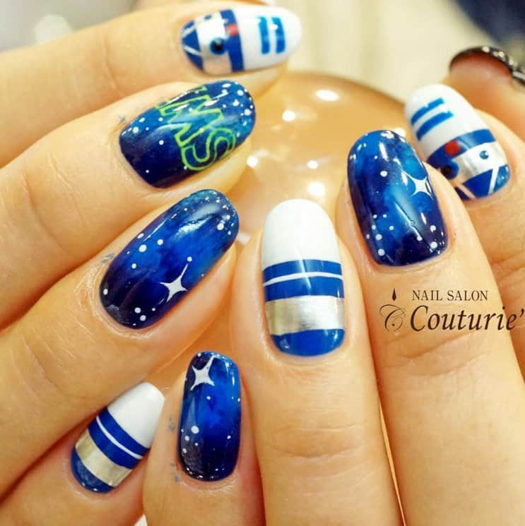 blue & white star wars nails