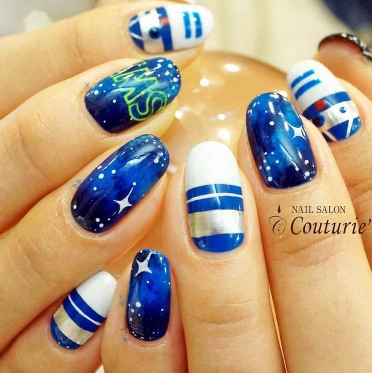 blue & white star wars nails