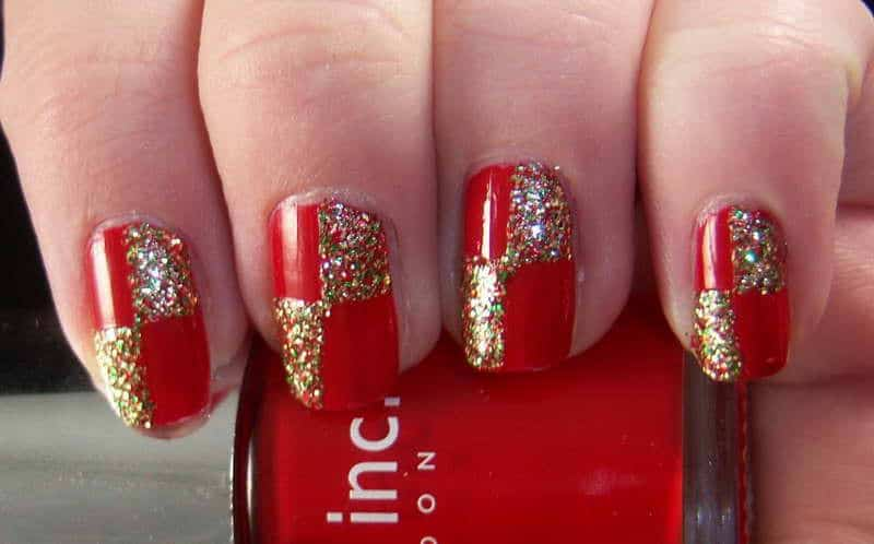 15 royal red and gold nail designs to stun the audience you can divide your nails into four quadrants then design each of the quadrants with either red or gold to have this kind of reed and gold nail designs prinsesfo Image collections