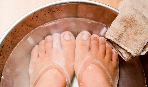 soaking feet in warm water