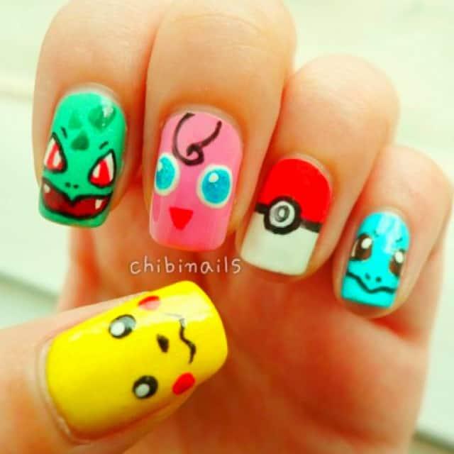 pokemon nail stickers - 10 Pikachu And Pokemon Nail Art To Rewind Childhood