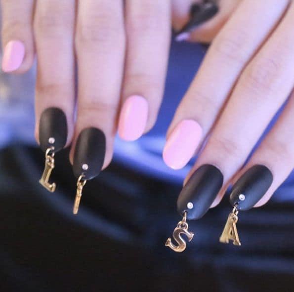 pierced black matte nail