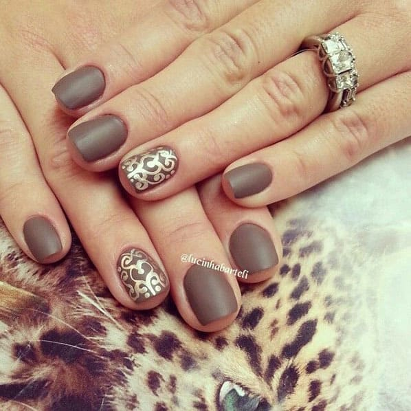 brown nail design for short nails