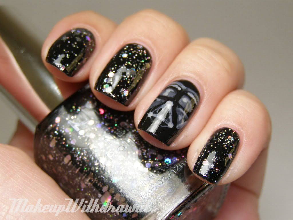 black glitter star wars nails