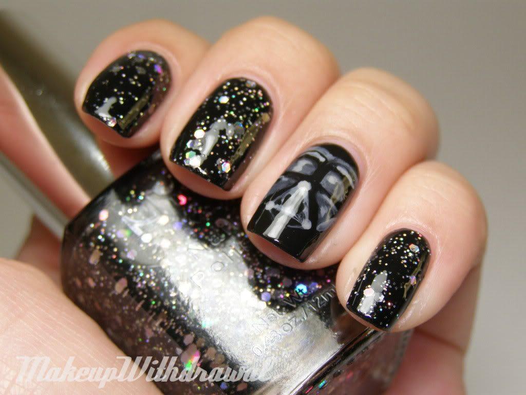 black glitter star wars nails