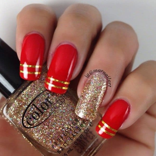 red and gold accent nail