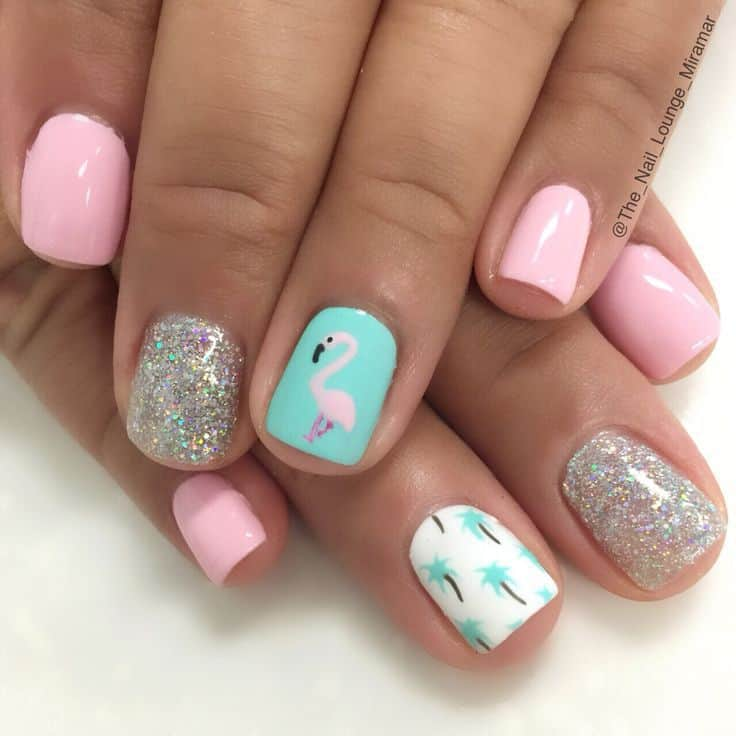 flamingo vacation nail design