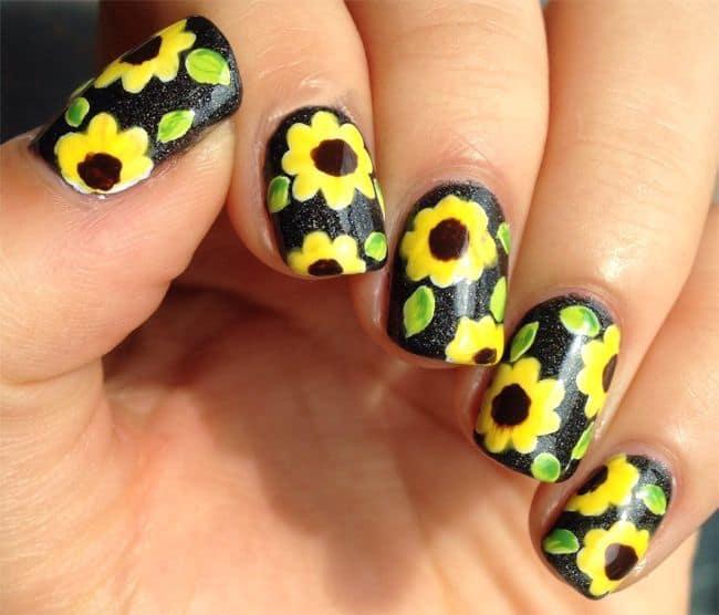 Easy Sunflower Nail Art - 10 Bright Sunflower Nail Art To Look Beautiful – NailDesignCode