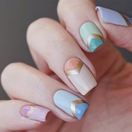 Chevron Nails Are Commonly Used In Nail Arts Almost Every Country This Shape Became Por So Rapidly Because Of The Decent Look And Easy Process
