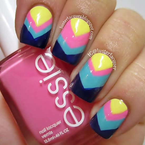 20 divine chevron nails know how to slay one naildesigncode using more than three colors is a bit unusual in chevron nails but you can paint your nails with these eye soothing colors like yellow pink sky blue solutioingenieria Gallery