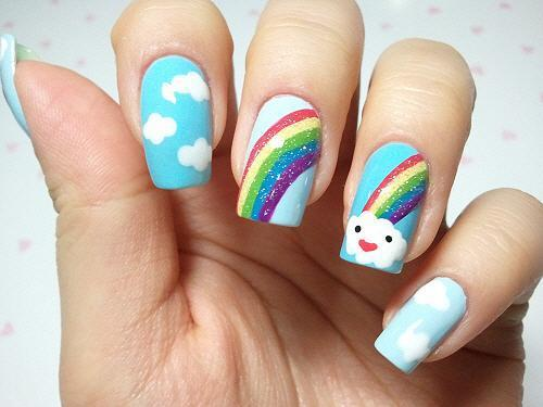 Light Blue rainbow nail design