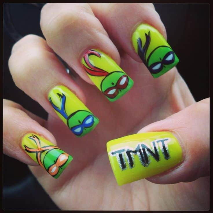 ninja turtle nail design - 10 Fabulous Ninja Turtle Nails For The Comic Fans – NailDesignCode