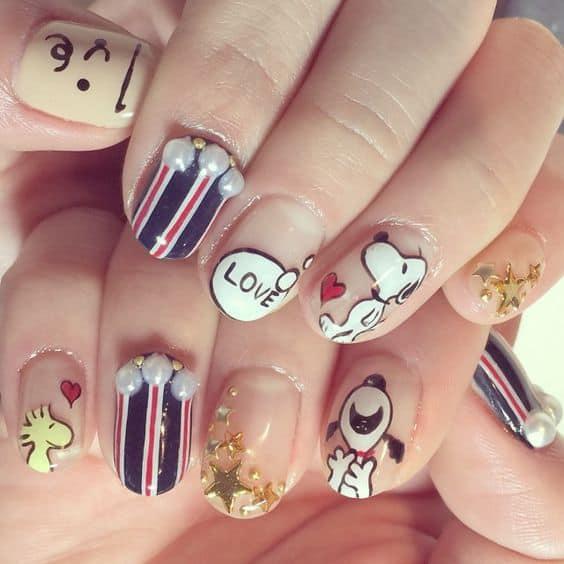 cartoon nail design for teen