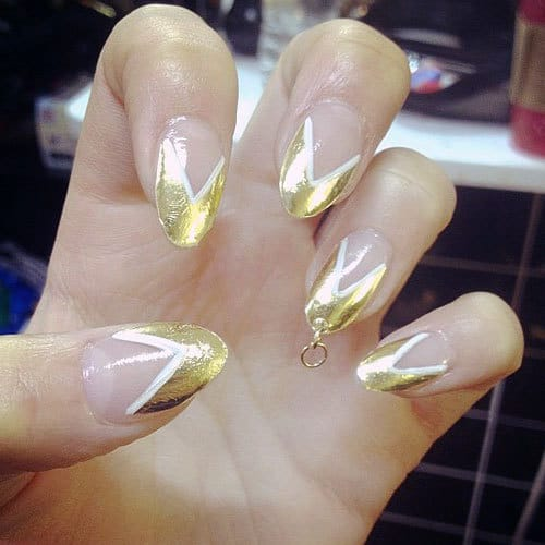 gold chevron pierced nail