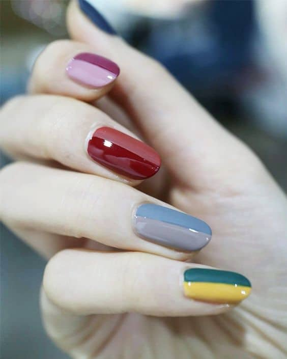 half & half korean nail design