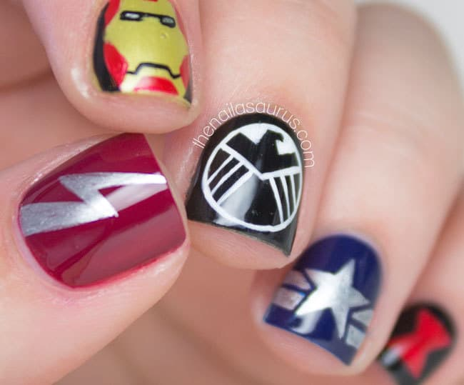 superhero logo nail art