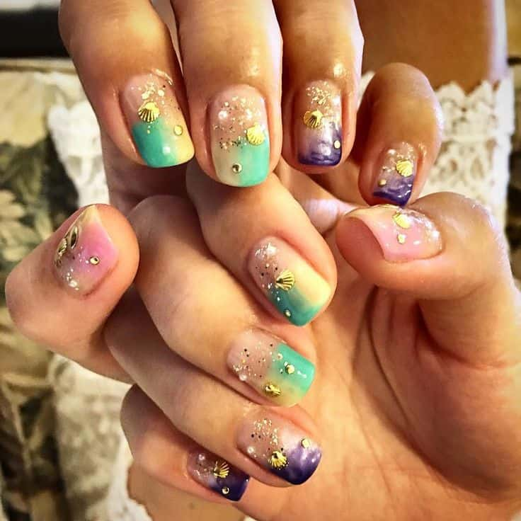 mermaid vacation nail design